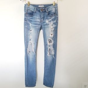 Machine Distressed Light Wash Jeans, size 27